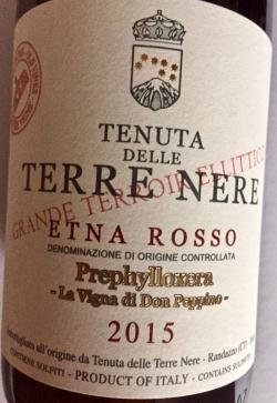 Terre Nere, Prephylloxera Etna Rosso 2015