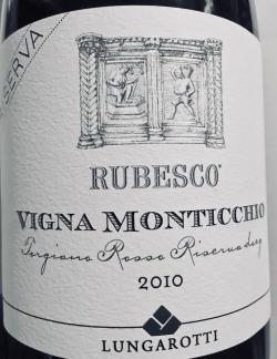Lungarotti, Rubesco Riserva Vigna Monticchio 2010
