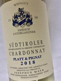 Josephus Mayr Erbhof Unterganzner, Chardonnay Platt und Pignat 2018